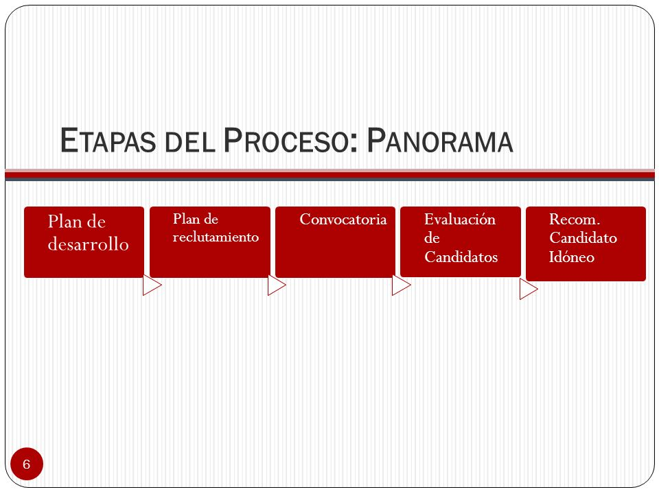 5 Comité de Personal DecanoRector (a)DAA Director de Departamento Oficina de Recursos Humanos Interventores en el proceso de reclutamiento