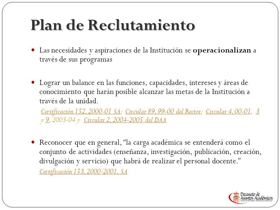 P LAN DE DESARROLLO 7 Plan de reclutamiento perfil para el reclutamiento docente. Certificación 43, 2006-2007 de la JS. Certificación 38, 2011-2012 de