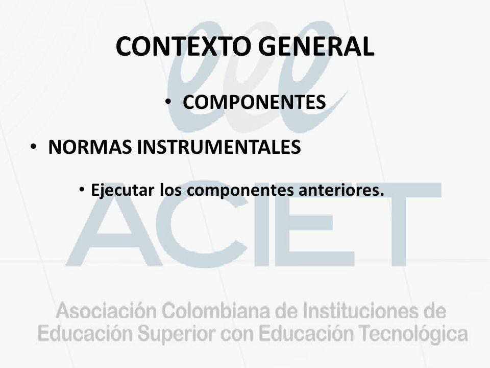 CONTEXTO GENERAL COMPONENTES NORMAS INSTRUMENTALES Ejecutar los componentes anteriores.