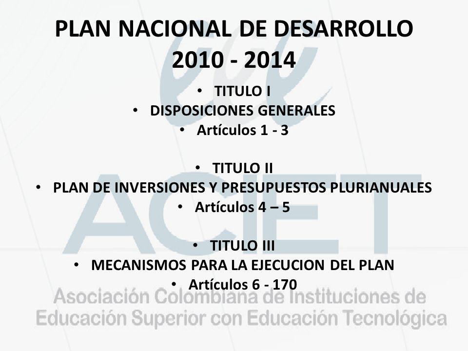 PLAN NACIONAL DE DESARROLLO 2010 - 2014 TITULO I DISPOSICIONES GENERALES Artículos 1 - 3 TITULO II PLAN DE INVERSIONES Y PRESUPUESTOS PLURIANUALES Art