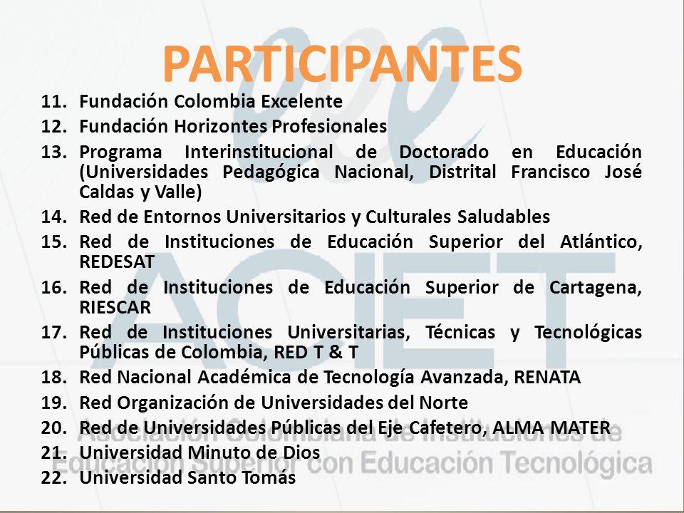 PARTICIPANTES 11.Fundación Colombia Excelente 12.Fundación Horizontes Profesionales 13.Programa Interinstitucional de Doctorado en Educación (Universi