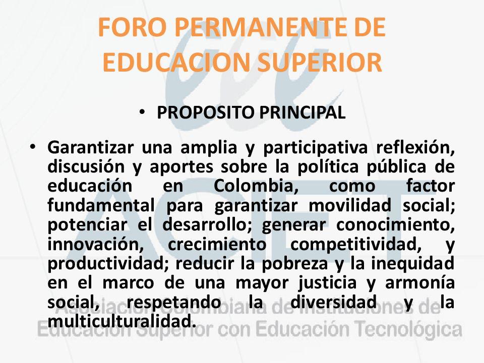 FORO PERMANENTE DE EDUCACION SUPERIOR PROPOSITO PRINCIPAL Garantizar una amplia y participativa reflexión, discusión y aportes sobre la política pública de educación en Colombia, como factor fundamental para garantizar movilidad social; potenciar el desarrollo; generar conocimiento, innovación, crecimiento competitividad, y productividad; reducir la pobreza y la inequidad en el marco de una mayor justicia y armonía social, respetando la diversidad y la multiculturalidad.