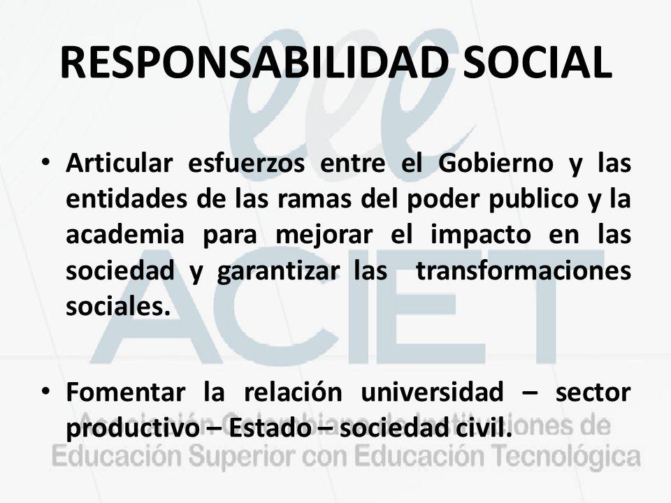 RESPONSABILIDAD SOCIAL Articular esfuerzos entre el Gobierno y las entidades de las ramas del poder publico y la academia para mejorar el impacto en las sociedad y garantizar las transformaciones sociales.