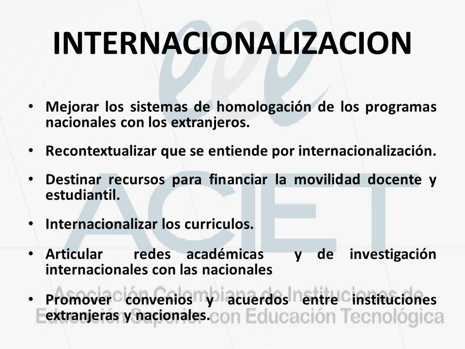 INTERNACIONALIZACION Mejorar los sistemas de homologación de los programas nacionales con los extranjeros. Recontextualizar que se entiende por intern