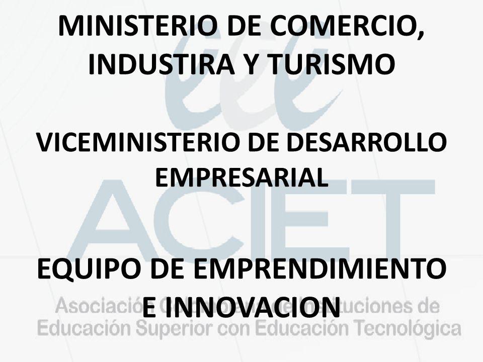 MINISTERIO DE COMERCIO, INDUSTIRA Y TURISMO VICEMINISTERIO DE DESARROLLO EMPRESARIAL EQUIPO DE EMPRENDIMIENTO E INNOVACION