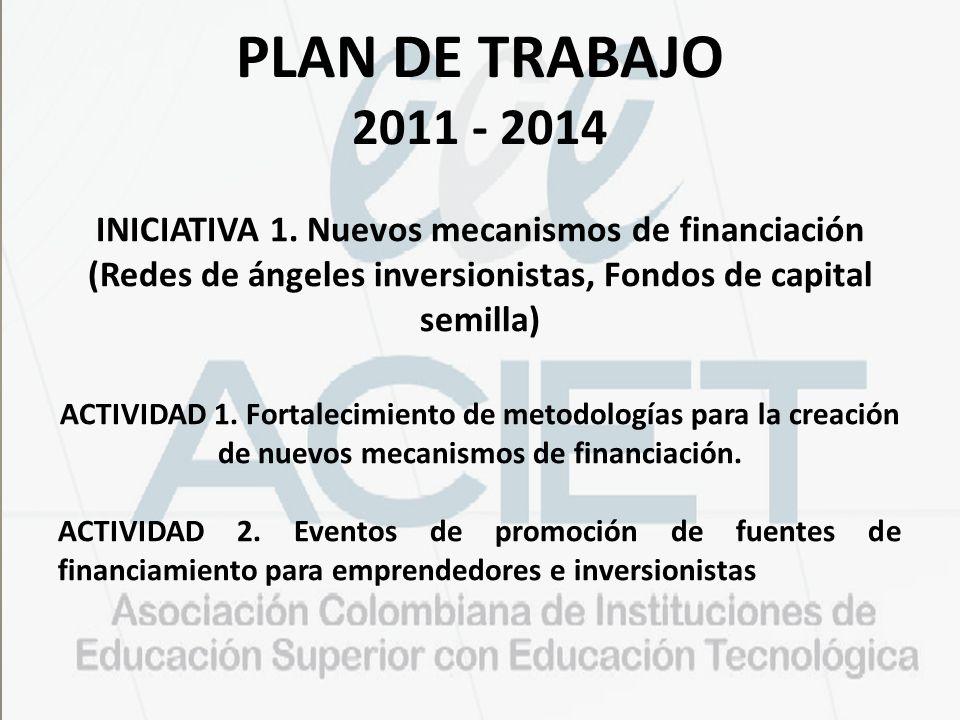 PLAN DE TRABAJO 2011 - 2014 INICIATIVA 1. Nuevos mecanismos de financiación (Redes de ángeles inversionistas, Fondos de capital semilla) ACTIVIDAD 1.