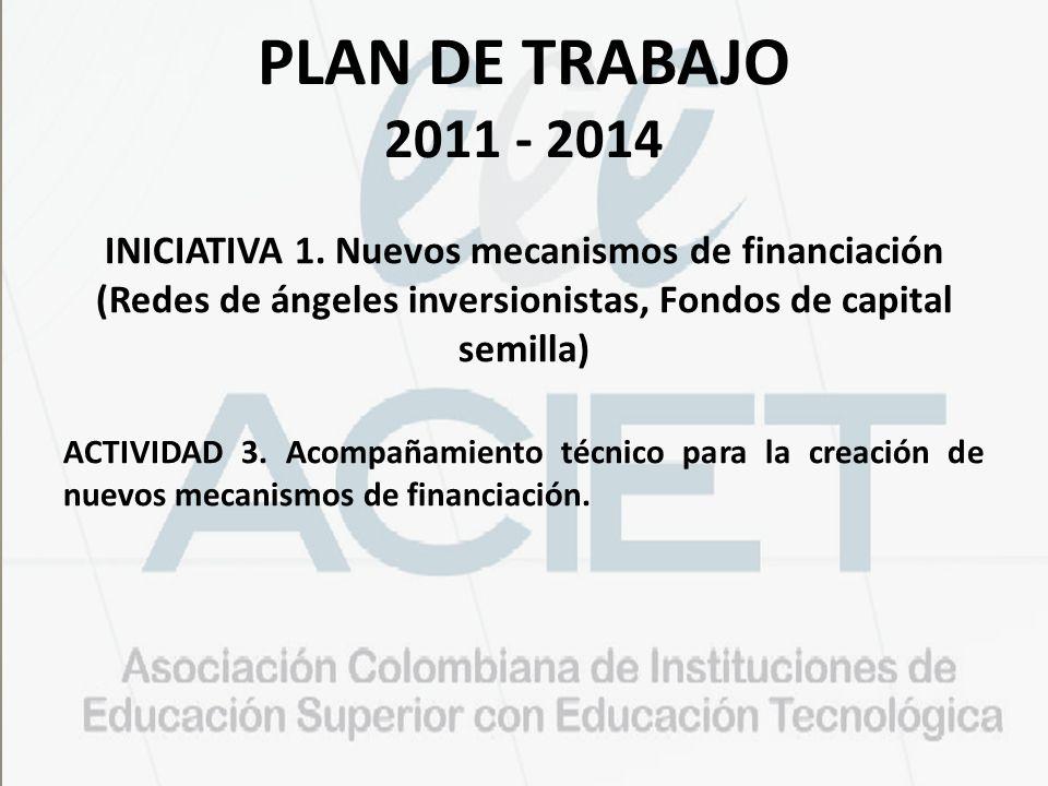 PLAN DE TRABAJO 2011 - 2014 INICIATIVA 1. Nuevos mecanismos de financiación (Redes de ángeles inversionistas, Fondos de capital semilla) ACTIVIDAD 3.