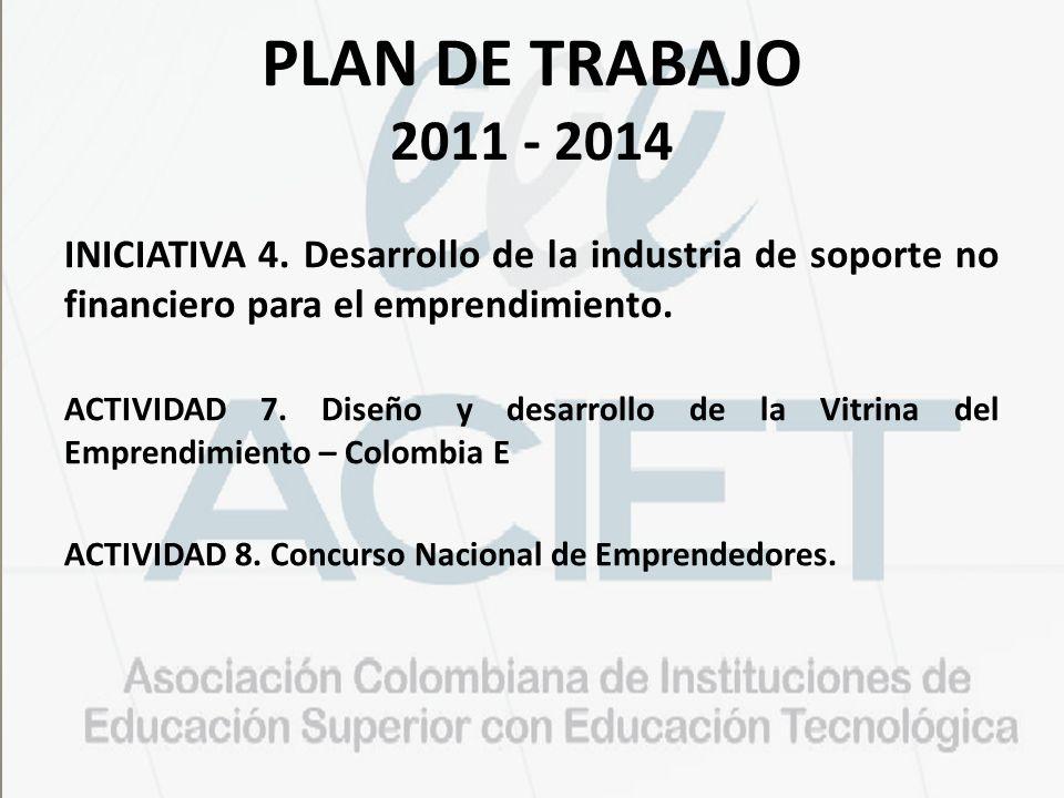 PLAN DE TRABAJO 2011 - 2014 INICIATIVA 4. Desarrollo de la industria de soporte no financiero para el emprendimiento. ACTIVIDAD 7. Diseño y desarrollo