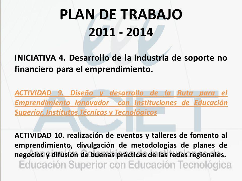 PLAN DE TRABAJO 2011 - 2014 INICIATIVA 4. Desarrollo de la industria de soporte no financiero para el emprendimiento. ACTIVIDAD 9. Diseño y desarrollo