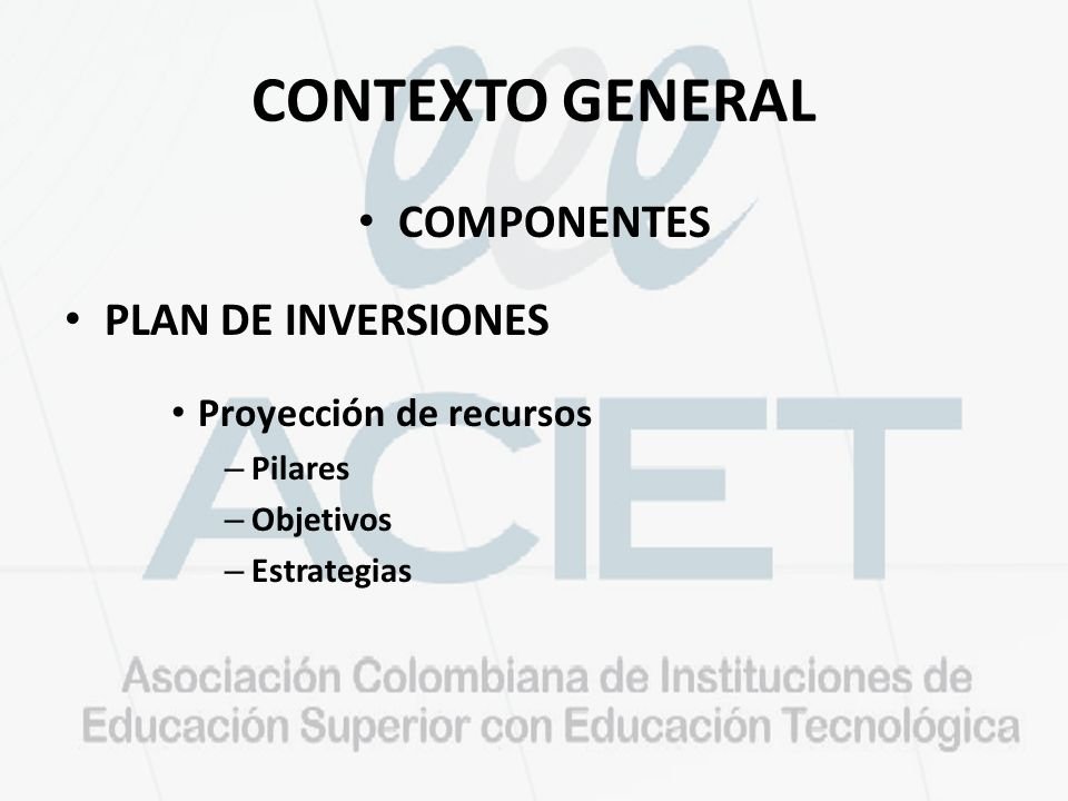CONTEXTO GENERAL COMPONENTES PLAN DE INVERSIONES Proyección de recursos – Pilares – Objetivos – Estrategias