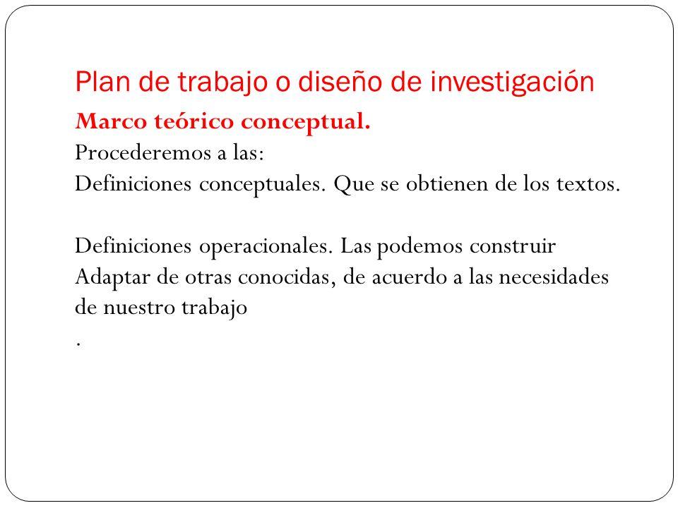 Marco teórico conceptual. Procederemos a las: Definiciones conceptuales. Que se obtienen de los textos. Definiciones operacionales. Las podemos constr