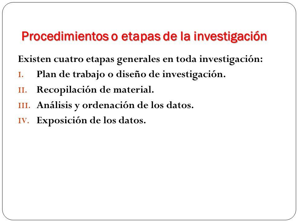 Procedimientos o etapas de la investigación Existen cuatro etapas generales en toda investigación: I. Plan de trabajo o diseño de investigación. II. R