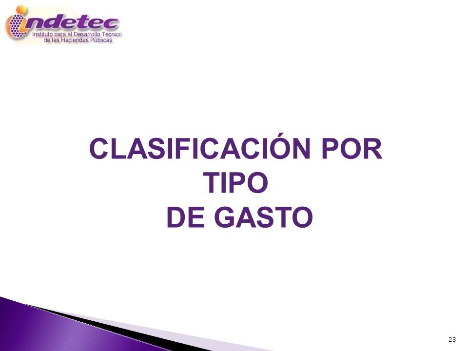 23 CLASIFICACIÓN POR TIPO DE GASTO