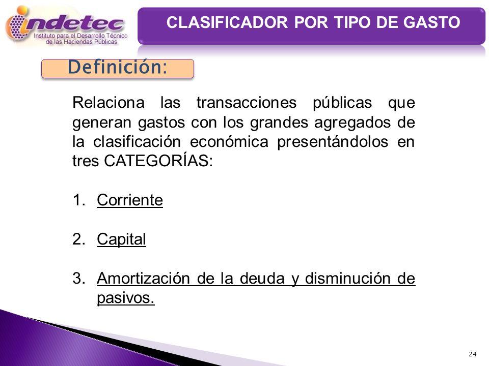 24 Definición: Relaciona las transacciones públicas que generan gastos con los grandes agregados de la clasificación económica presentándolos en tres