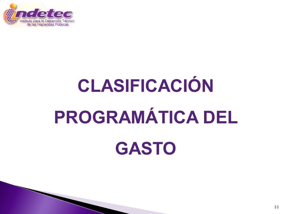 33 CLASIFICACIÓN PROGRAMÁTICA DEL GASTO