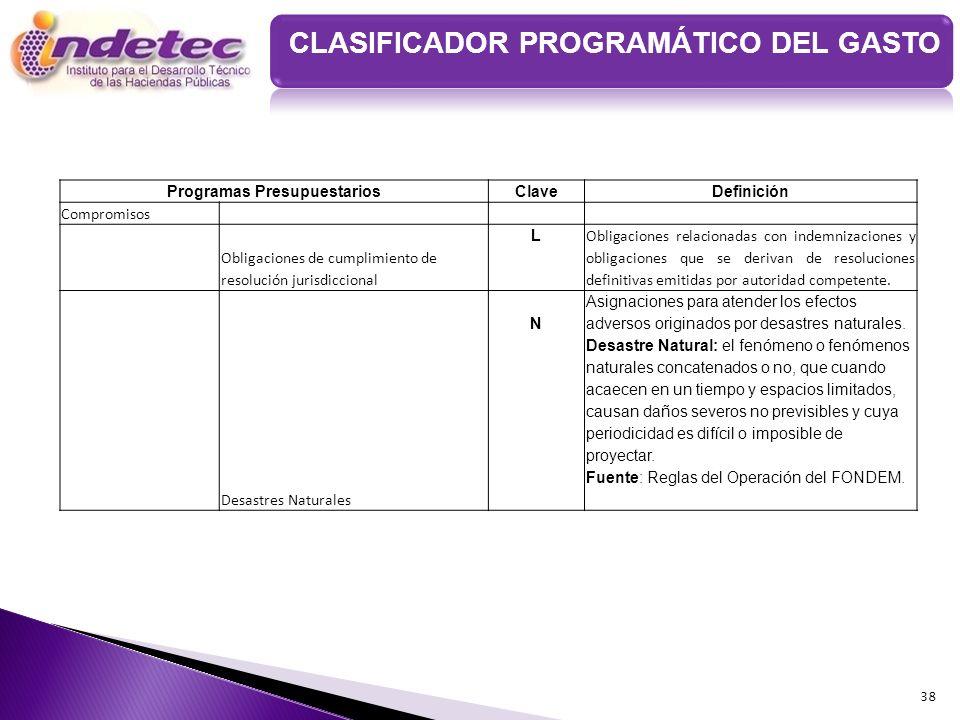 38 Programas PresupuestariosClaveDefinición Compromisos Obligaciones de cumplimiento de resolución jurisdiccional L Obligaciones relacionadas con inde
