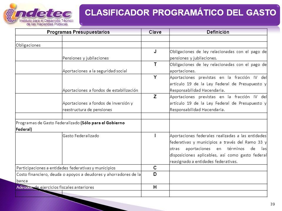 39 Programas PresupuestariosClaveDefinición Obligaciones Pensiones y jubilaciones J Obligaciones de ley relacionadas con el pago de pensiones y jubila