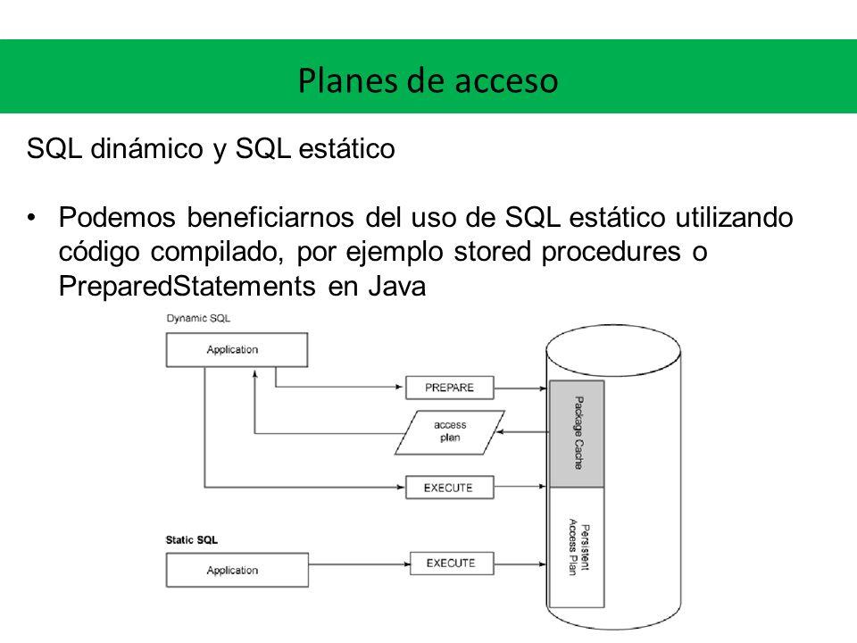 Planes de acceso SQL dinámico y SQL estático Podemos beneficiarnos del uso de SQL estático utilizando código compilado, por ejemplo stored procedures o PreparedStatements en Java