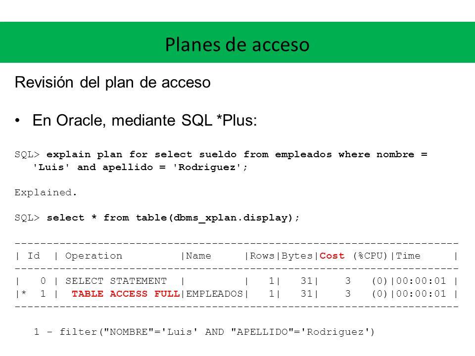 Planes de acceso Revisión del plan de acceso En Oracle, mediante SQL *Plus: SQL> explain plan for select sueldo from empleados where nombre = Luis and apellido = Rodriguez ; Explained.