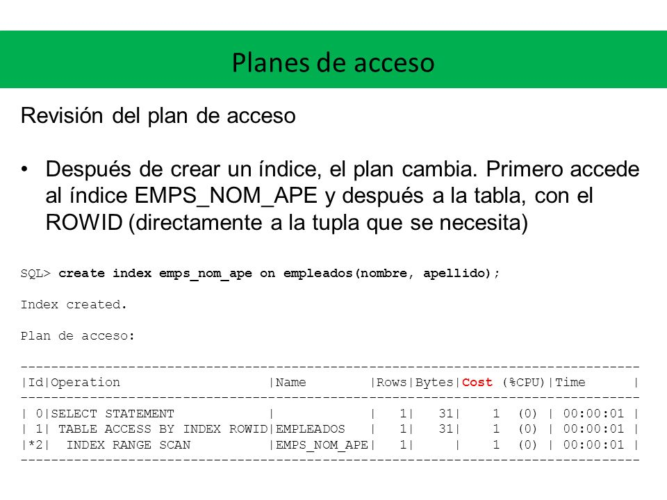 Planes de acceso Revisión del plan de acceso Después de crear un índice, el plan cambia.