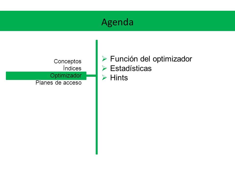 Agenda Función del optimizador Estadísticas Hints Conceptos Índices Optimizador Planes de acceso