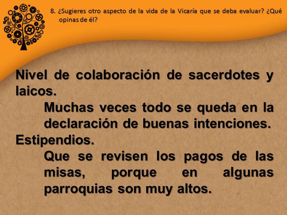 8. ¿Sugieres otro aspecto de la vida de la Vicaría que se deba evaluar.