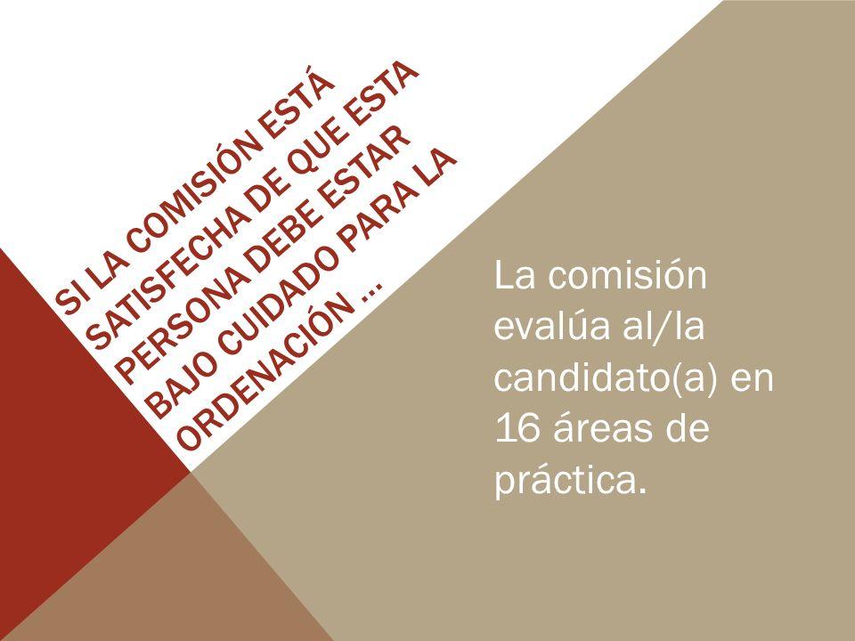 SI LA COMISIÓN ESTÁ SATISFECHA DE QUE ESTA PERSONA DEBE ESTAR BAJO CUIDADO PARA LA ORDENACIÓN … La comisión evalúa al/la candidato(a) en 16 áreas de práctica.