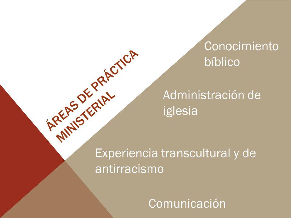 ÁREAS DE PRÁCTICA MINISTERIAL Conocimiento bíblico Administración de iglesia Experiencia transcultural y de antirracismo Comunicación