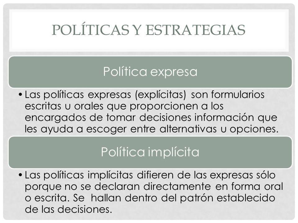 POLÍTICAS Y ESTRATEGIAS Política expresa Las políticas expresas (explícitas) son formularios escritas u orales que proporcionen a los encargados de to