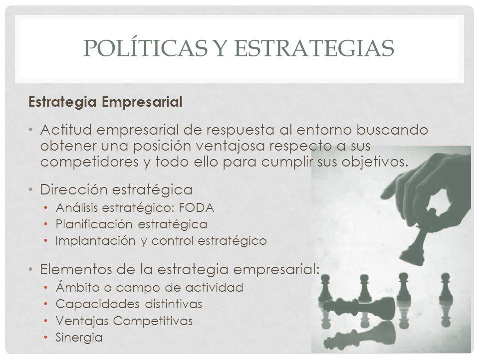 POLÍTICAS Y ESTRATEGIAS Estrategia Empresarial Actitud empresarial de respuesta al entorno buscando obtener una posición ventajosa respecto a sus comp