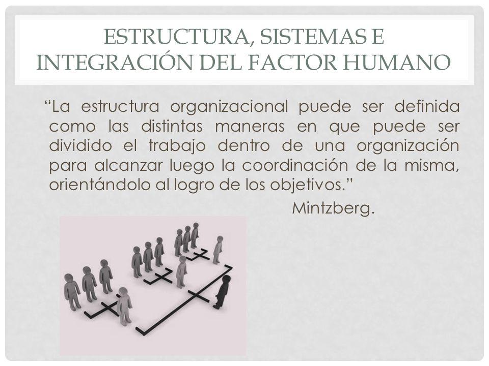 ESTRUCTURA, SISTEMAS E INTEGRACIÓN DEL FACTOR HUMANO La estructura organizacional puede ser definida como las distintas maneras en que puede ser divid