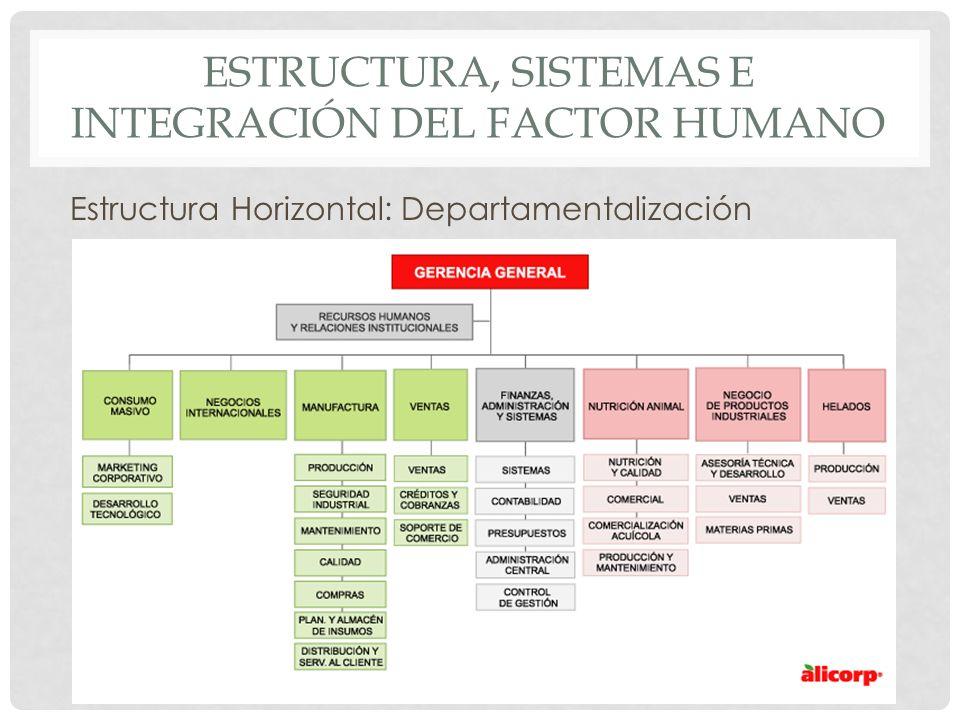 ESTRUCTURA, SISTEMAS E INTEGRACIÓN DEL FACTOR HUMANO Estructura Horizontal: Departamentalización