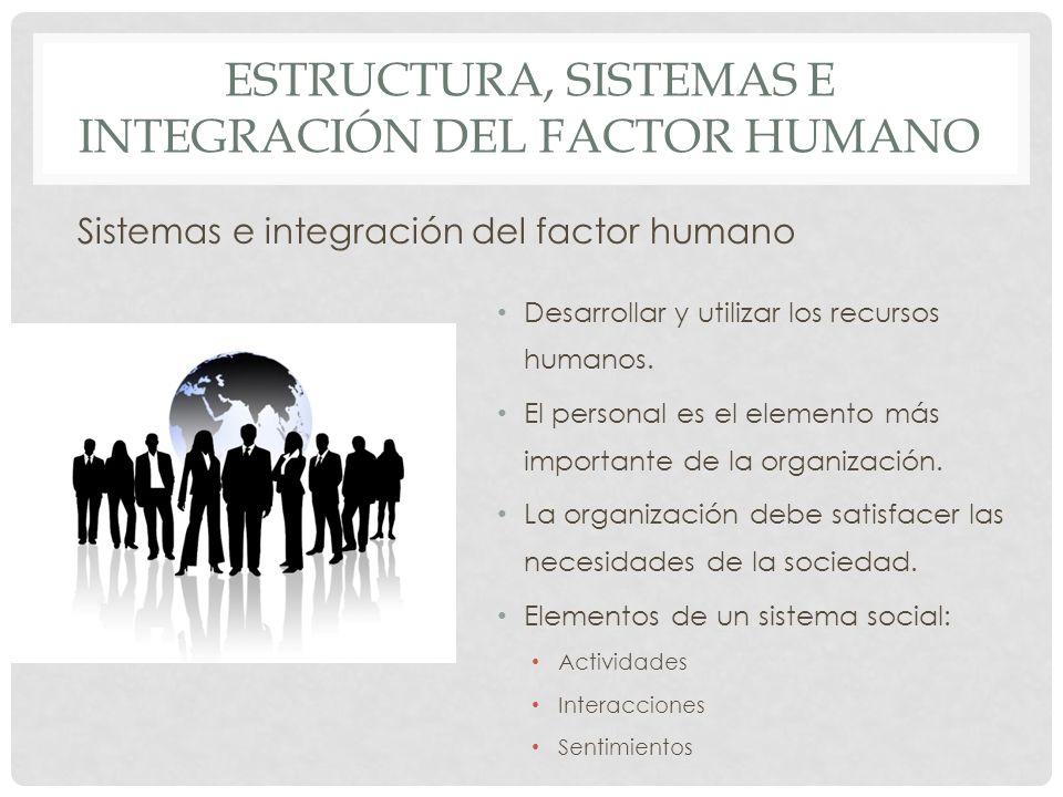 ESTRUCTURA, SISTEMAS E INTEGRACIÓN DEL FACTOR HUMANO Sistemas e integración del factor humano Desarrollar y utilizar los recursos humanos. El personal