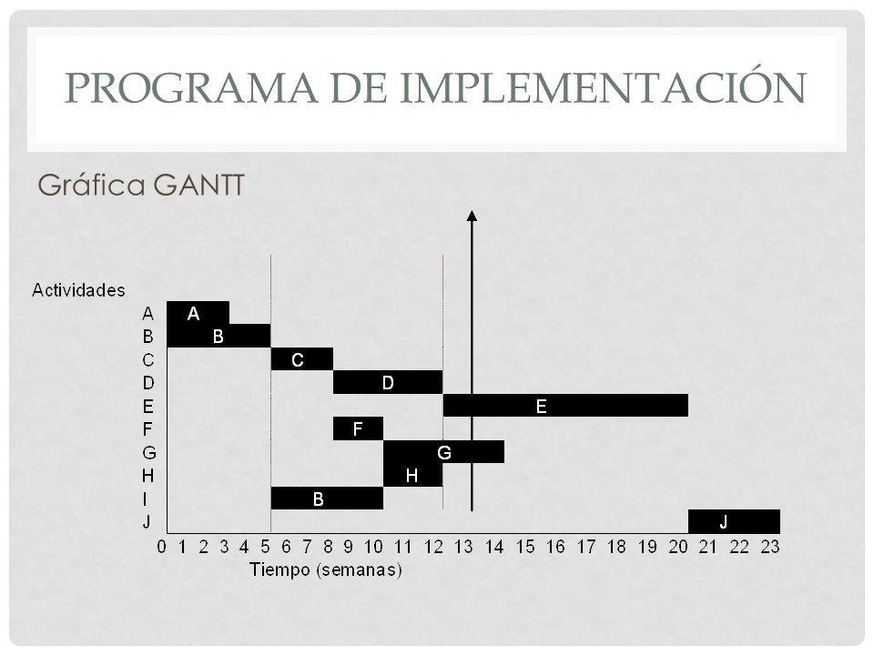 PROGRAMA DE IMPLEMENTACIÓN Gráfica GANTT