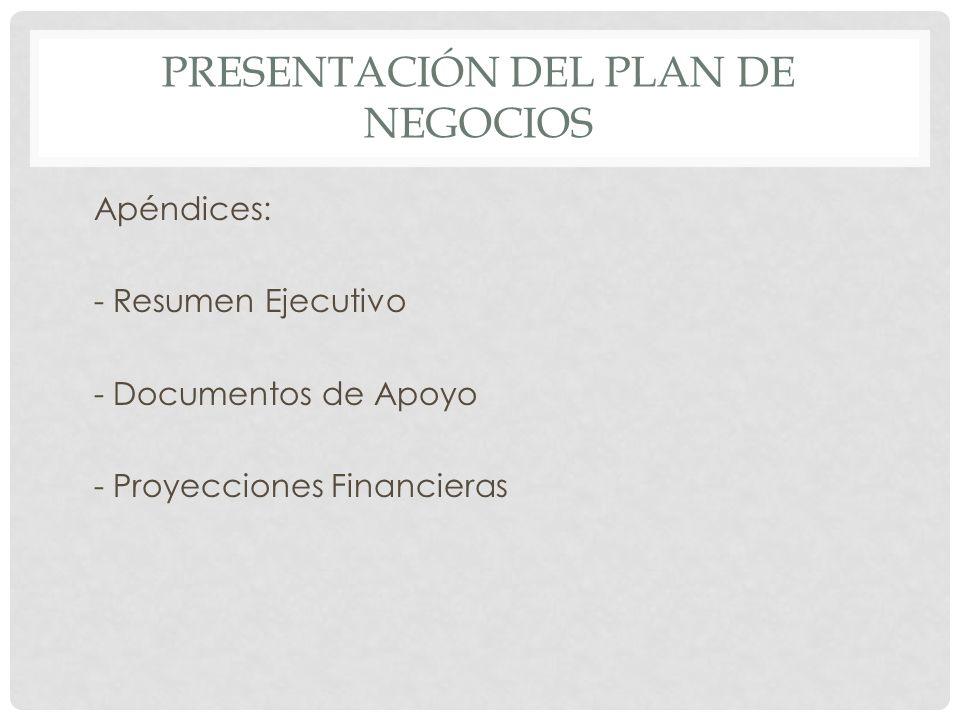 PRESENTACIÓN DEL PLAN DE NEGOCIOS Apéndices: - Resumen Ejecutivo - Documentos de Apoyo - Proyecciones Financieras