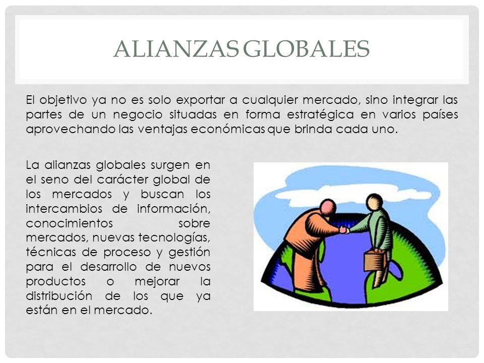 ALIANZAS GLOBALES La alianzas globales surgen en el seno del carácter global de los mercados y buscan los intercambios de información, conocimientos s