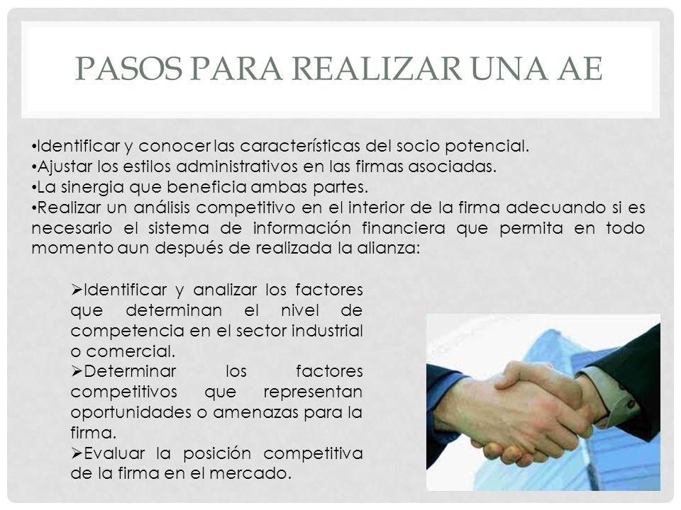 PASOS PARA REALIZAR UNA AE Identificar y conocer las características del socio potencial. Ajustar los estilos administrativos en las firmas asociadas.