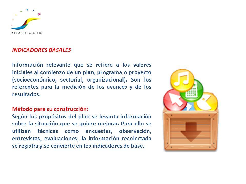 INDICADORES BASALES Información relevante que se refiere a los valores iniciales al comienzo de un plan, programa o proyecto (socioeconómico, sectoria