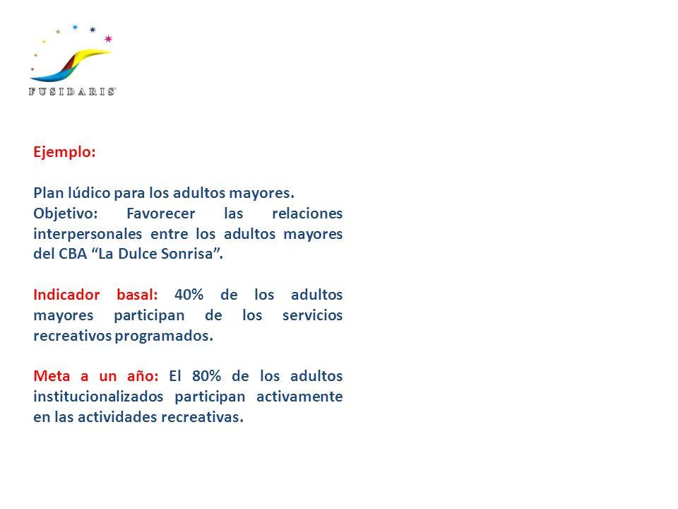 Ejemplo: Plan lúdico para los adultos mayores. Objetivo: Favorecer las relaciones interpersonales entre los adultos mayores del CBA La Dulce Sonrisa.