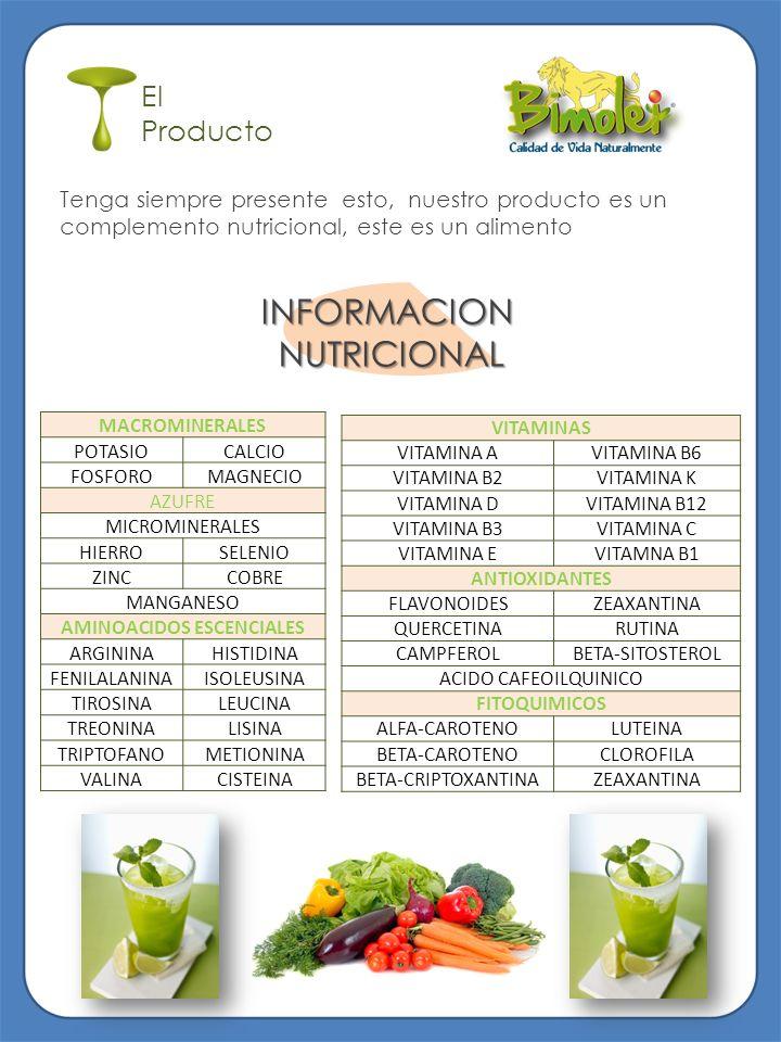 El Producto Tenga siempre presente esto, nuestro producto es un complemento nutricional, este es un alimento INFORMACIONNUTRICIONAL MACROMINERALES POT