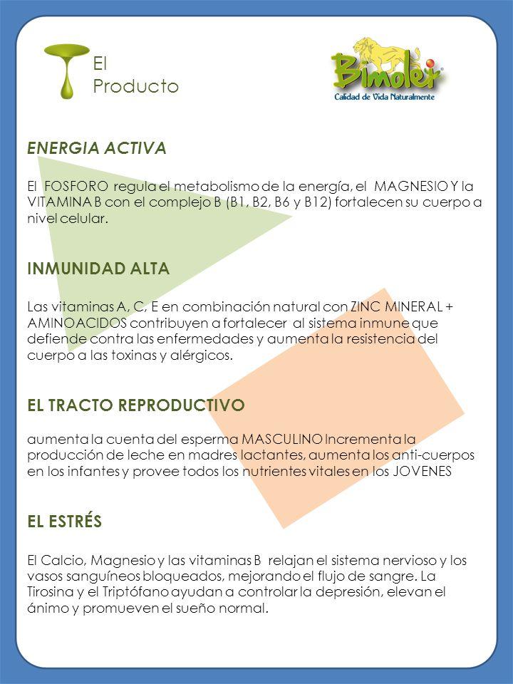 El Producto ENERGIA ACTIVA El FOSFORO regula el metabolismo de la energía, el MAGNESIO Y la VITAMINA B con el complejo B (B1, B2, B6 y B12) fortalecen