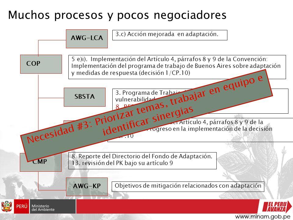 Muchos procesos y pocos negociadores AWG-LCA SBSTA COP SBI AWG-KP CMP Objetivos de mitigación relacionados con adaptación 3.c) Acción mejorada en adap