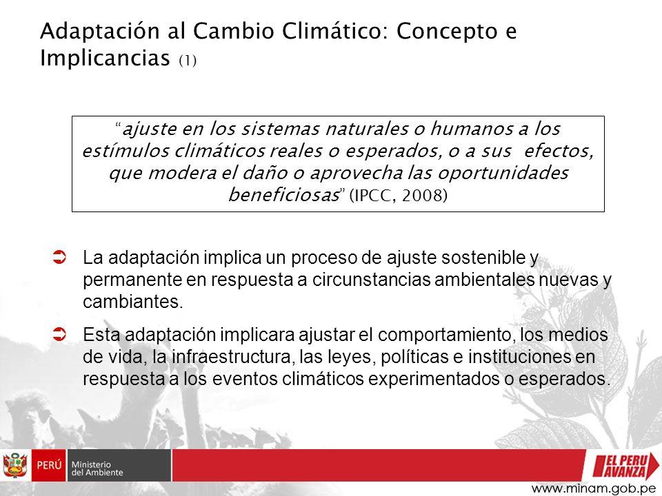 Adaptación al Cambio Climático: Concepto e Implicancias (1) La adaptación implica un proceso de ajuste sostenible y permanente en respuesta a circunst