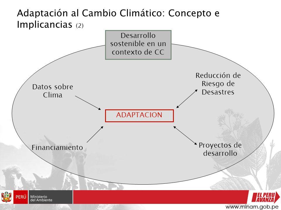 Adaptación al Cambio Climático: Concepto e Implicancias (2) Desarrollo sostenible en un contexto de CC ADAPTACION Financiamiento Reducción de Riesgo d