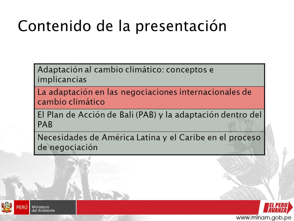 Contenido de la presentación Adaptación al cambio climático: conceptos e implicancias La adaptación en las negociaciones internacionales de cambio cli