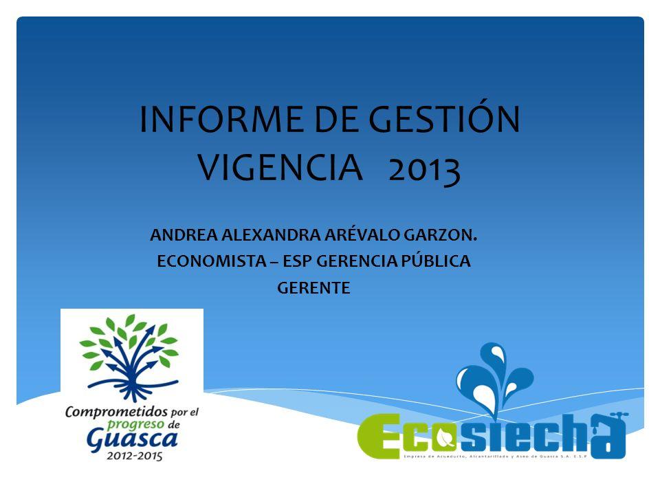 INFORME DE GESTIÓN VIGENCIA 2013 ANDREA ALEXANDRA ARÉVALO GARZON. ECONOMISTA – ESP GERENCIA PÚBLICA GERENTE