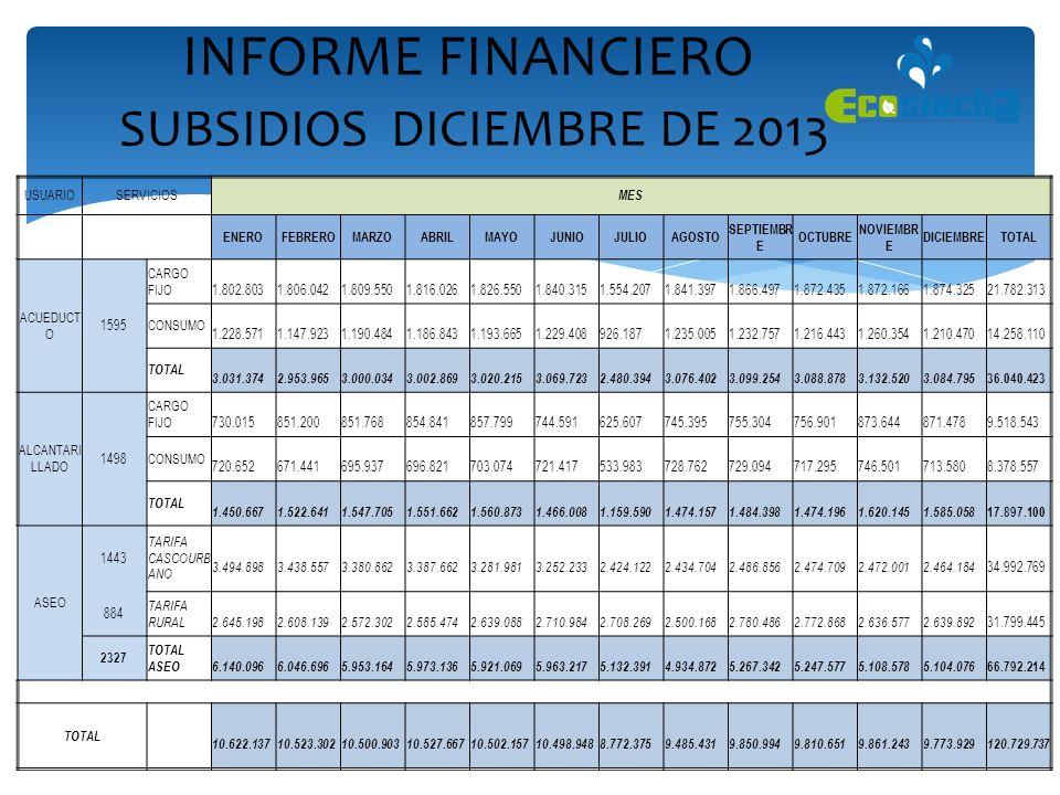 INFORME FINANCIERO SUBSIDIOS DICIEMBRE DE 2013 USUARIOSERVICIOS MES ENEROFEBREROMARZOABRILMAYOJUNIOJULIOAGOSTO SEPTIEMBR E OCTUBRE NOVIEMBR E DICIEMBR