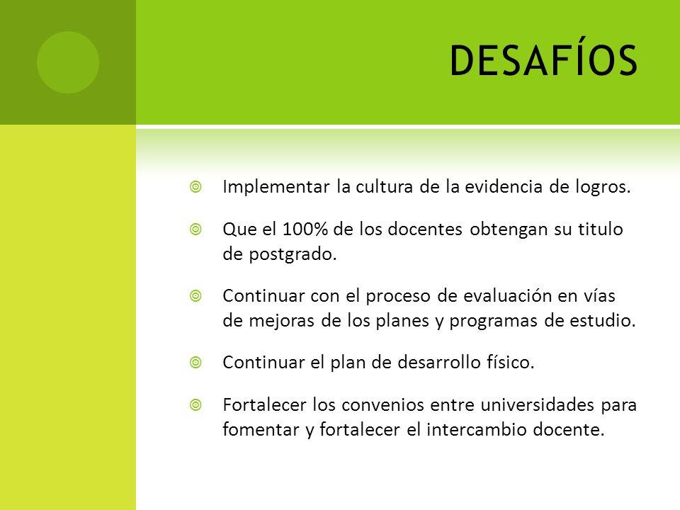 DESAFÍOS Implementar la cultura de la evidencia de logros. Que el 100% de los docentes obtengan su titulo de postgrado. Continuar con el proceso de ev