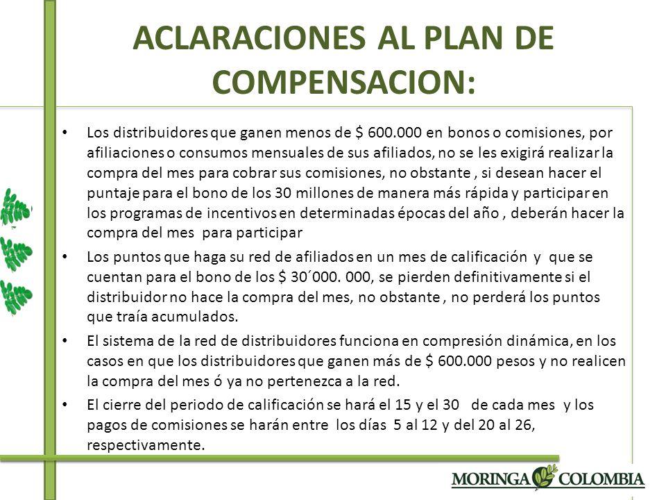 ACLARACIONES AL PLAN DE COMPENSACION: Los distribuidores que ganen menos de $ 600.000 en bonos o comisiones, por afiliaciones o consumos mensuales de