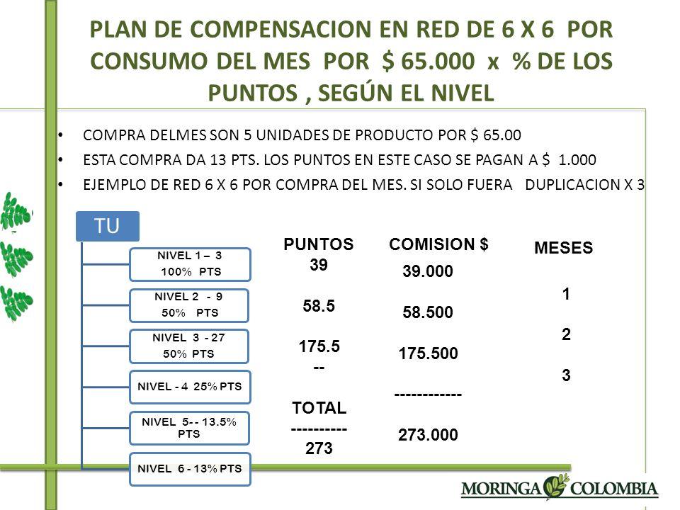 COMPRA DELMES SON 5 UNIDADES DE PRODUCTO POR $ 65.00 ESTA COMPRA DA 13 PTS. LOS PUNTOS EN ESTE CASO SE PAGAN A $ 1.000 EJEMPLO DE RED 6 X 6 POR COMPRA